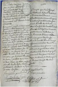 Reddition des comptes par le consul Joseph Mottinot - 1764 dans archives de Hauterives compte1-203x300